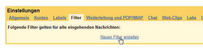 Google Mail Filter Einstellungen
