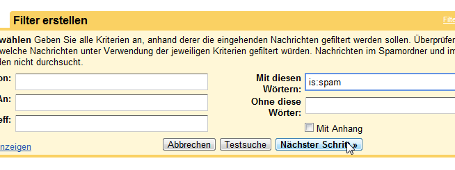 Google Mail Filter Einstellungen is:spam