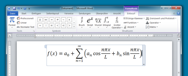 Mathematikformeln in Word Screenshot